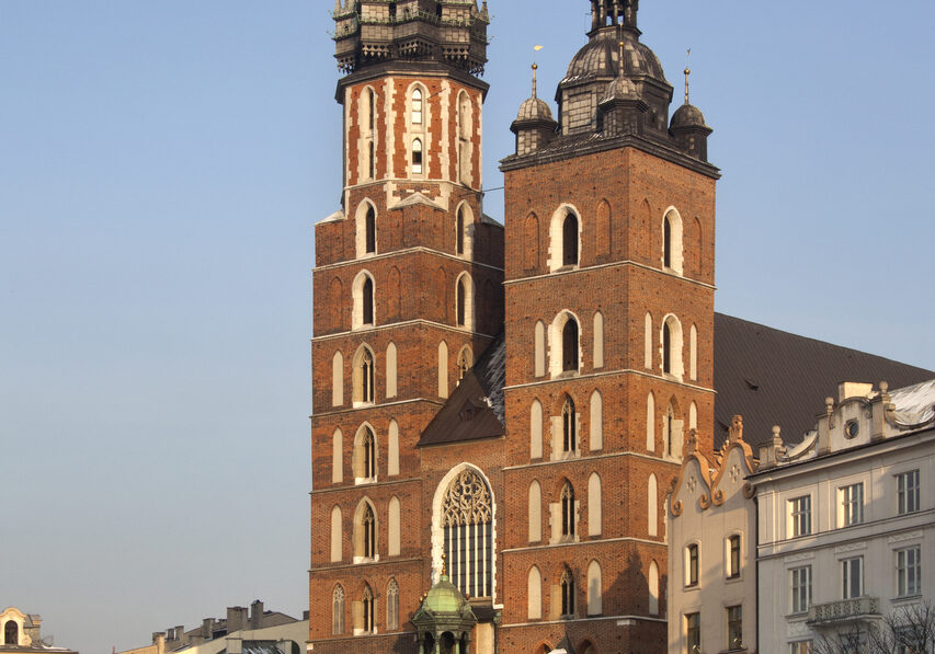 The Church of St Mary in the Main Square (Rynek Glowny) in the city of Kracow in Poland. This gothic basilica is also known as the Church of the Assumption of the Virgin. Dates from the late 13th Century.